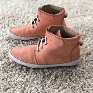 Monkey Feet Pink Leather High Top Sneaker Casual